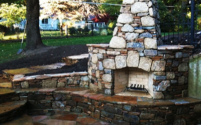 large backyard fireplace